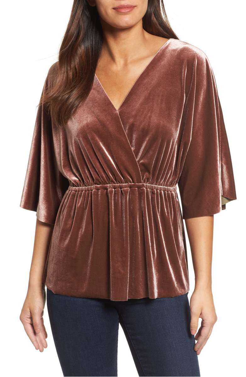 Faux Wrap Velvet Top