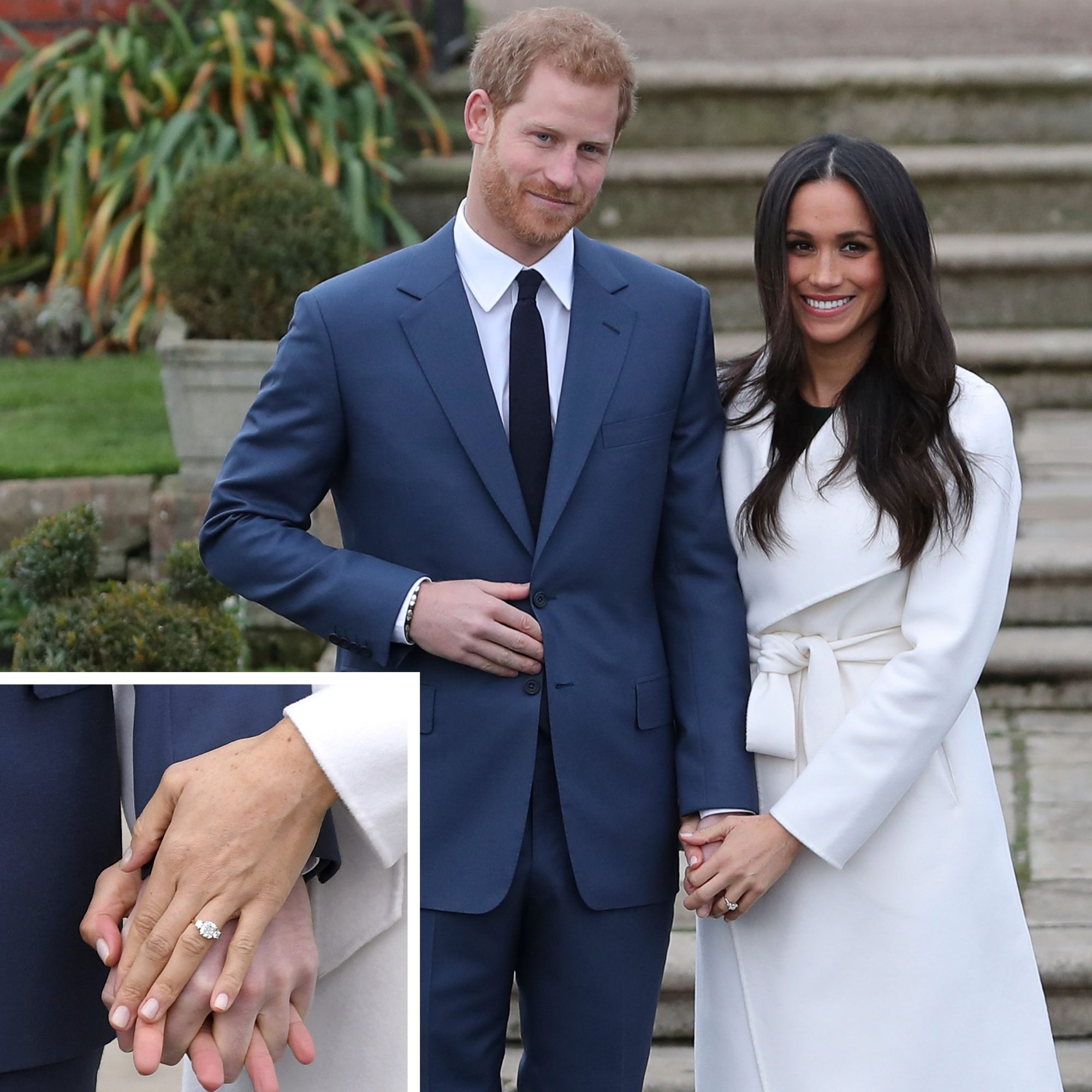 Prince Harry and Meghan Markle with Detail Shot of Engagement Ring