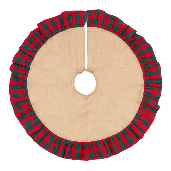 Monogrammed Plaid Christmas Tree Skirt