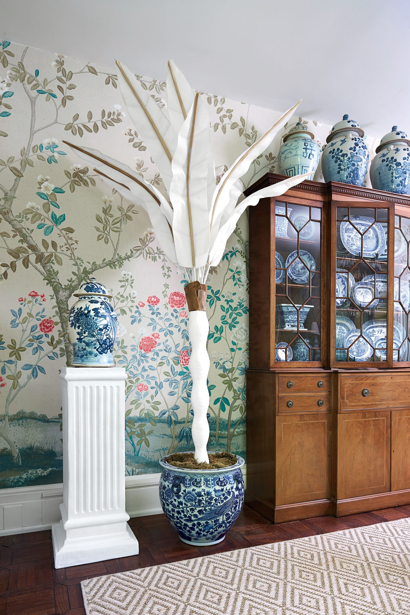 Allison Allen Floral Dining Room with Ginger Jar and Blue-and-White Collection