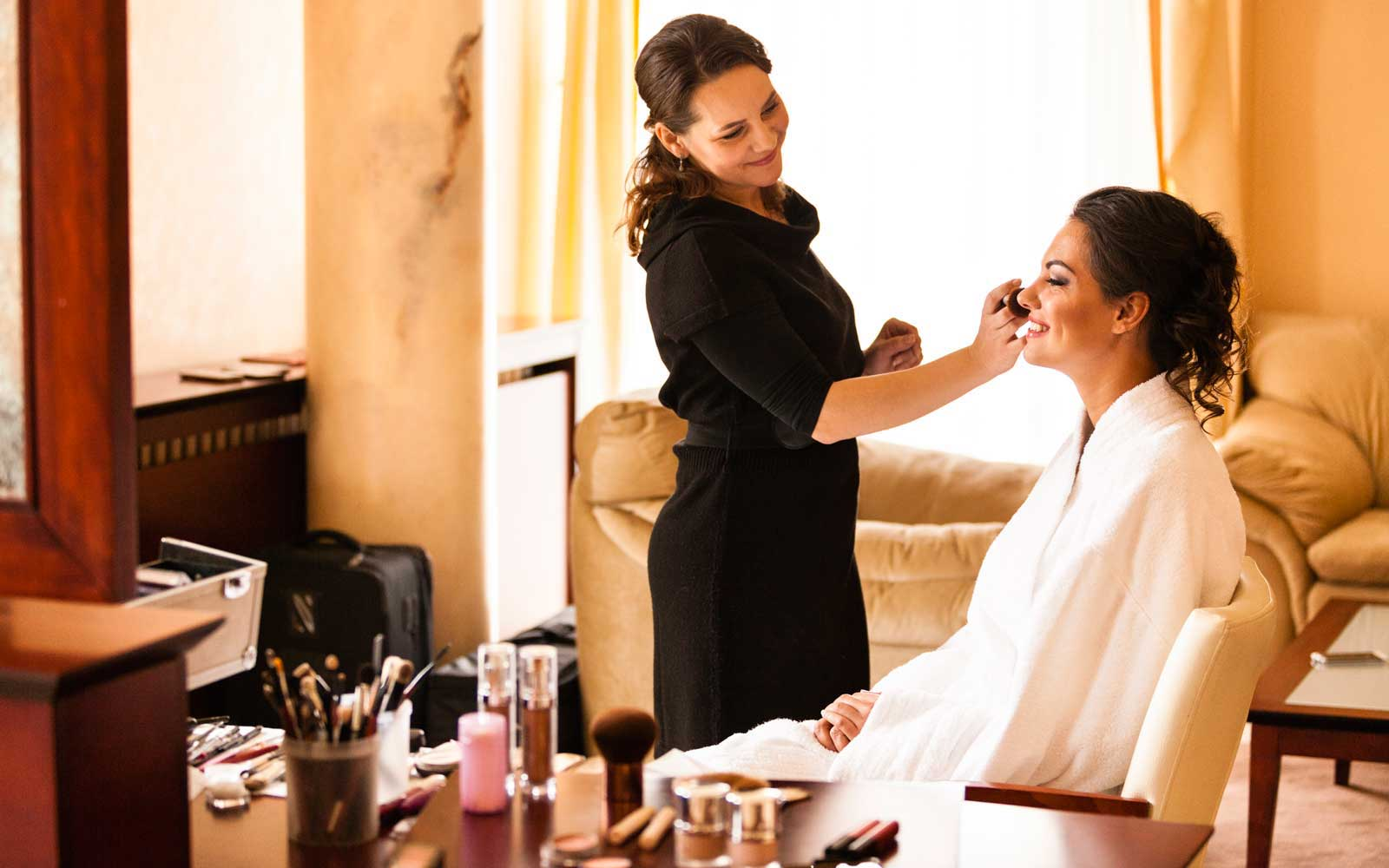 Stylist Doing Makeup in a Hotel Room