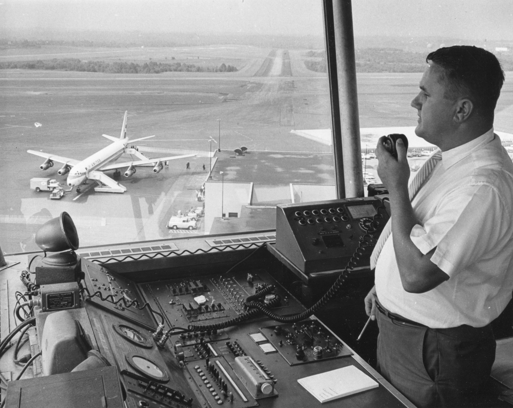faa air traffic controller black and white photo