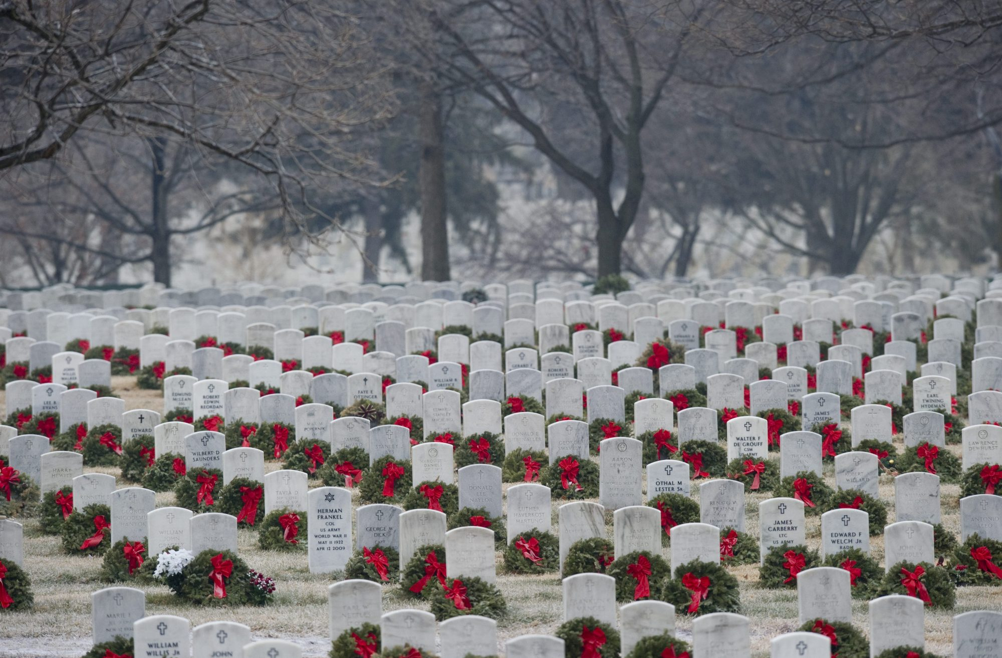 Gravestones at Arlington National Cemetery with Christmas Wreaths