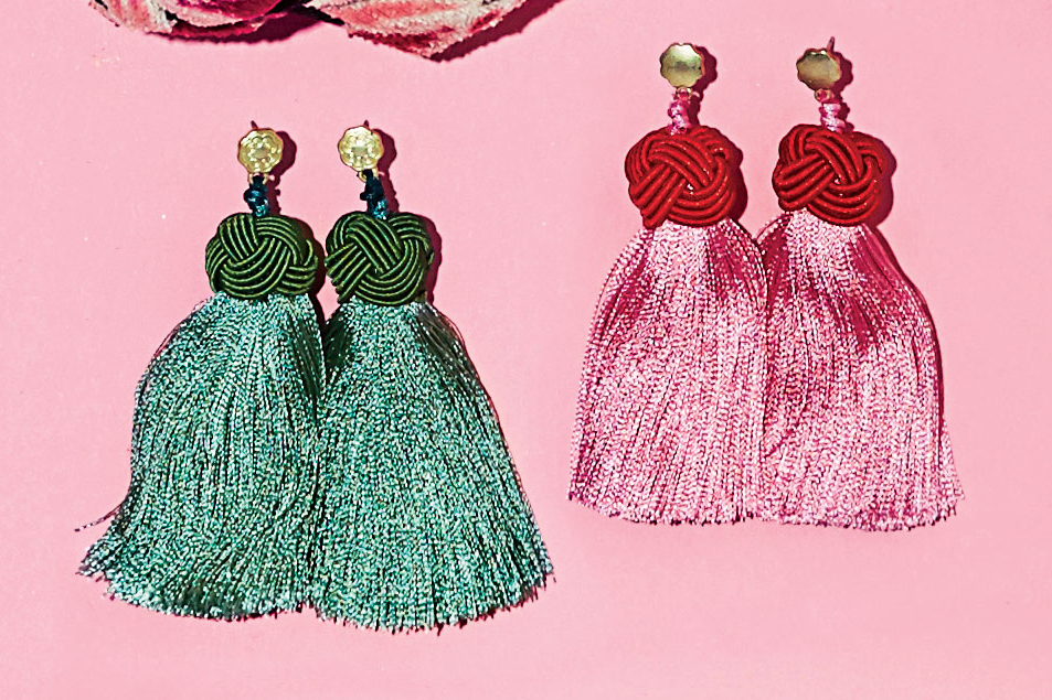 Topknots Earrings in Sage and Cherry Top & Peony Pink