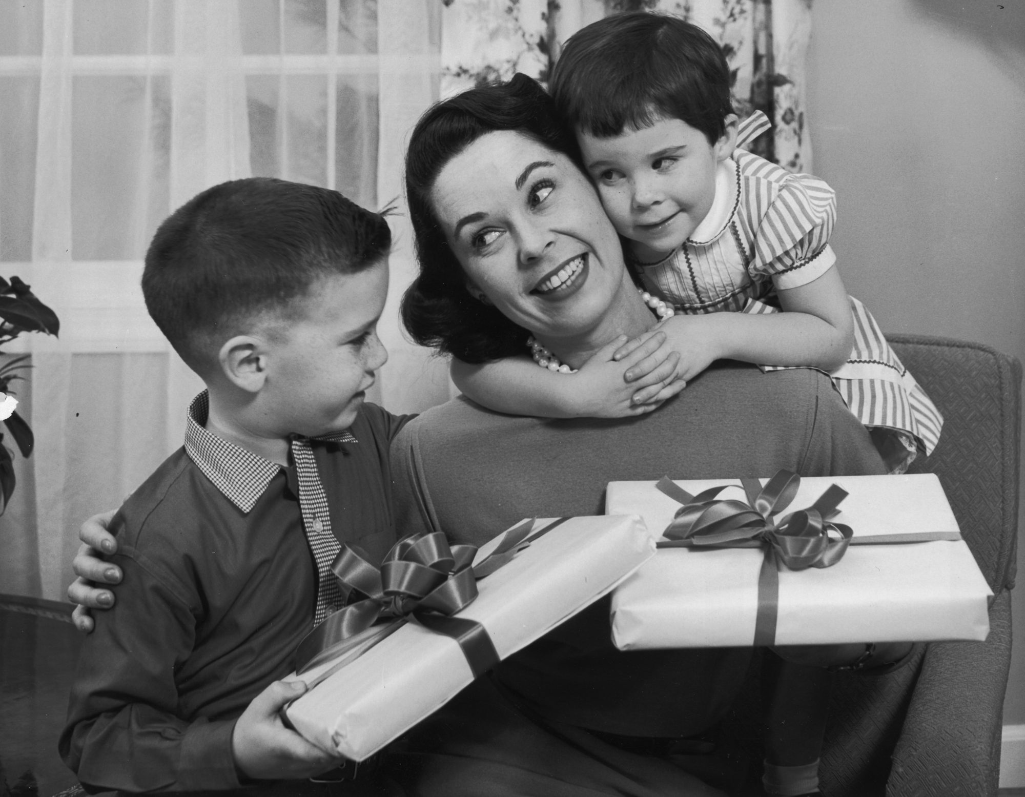 Boys Giving Mother Presents for Mother's Day