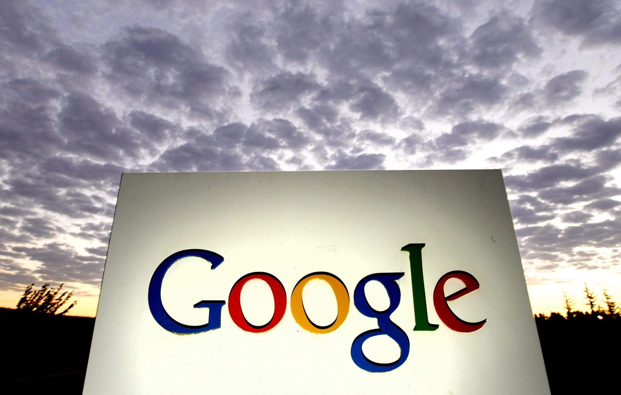 Signage is displayed outside the Google Inc. headquarters in Mountain View, California, on Oct. 13, 2010.