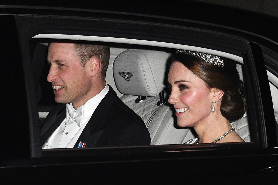 William and Pregnant Kate Middleton Wearing Princess Diana's Favorite Tiara at White-Tie Palace Party