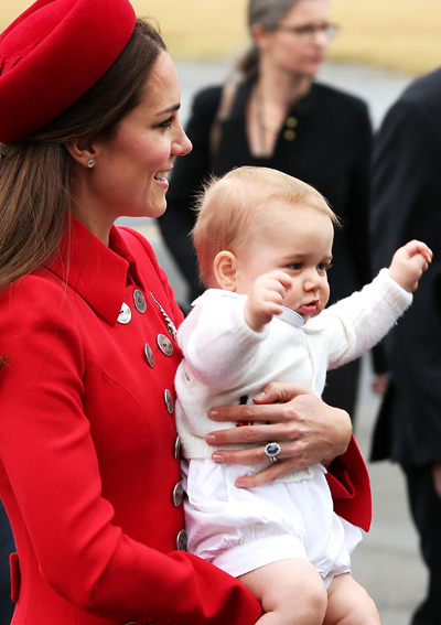 Prince George Waves to the Crowd