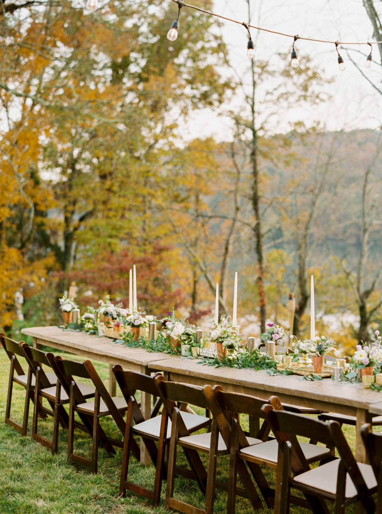 Outdoor Fall Wedding Reception Dinner