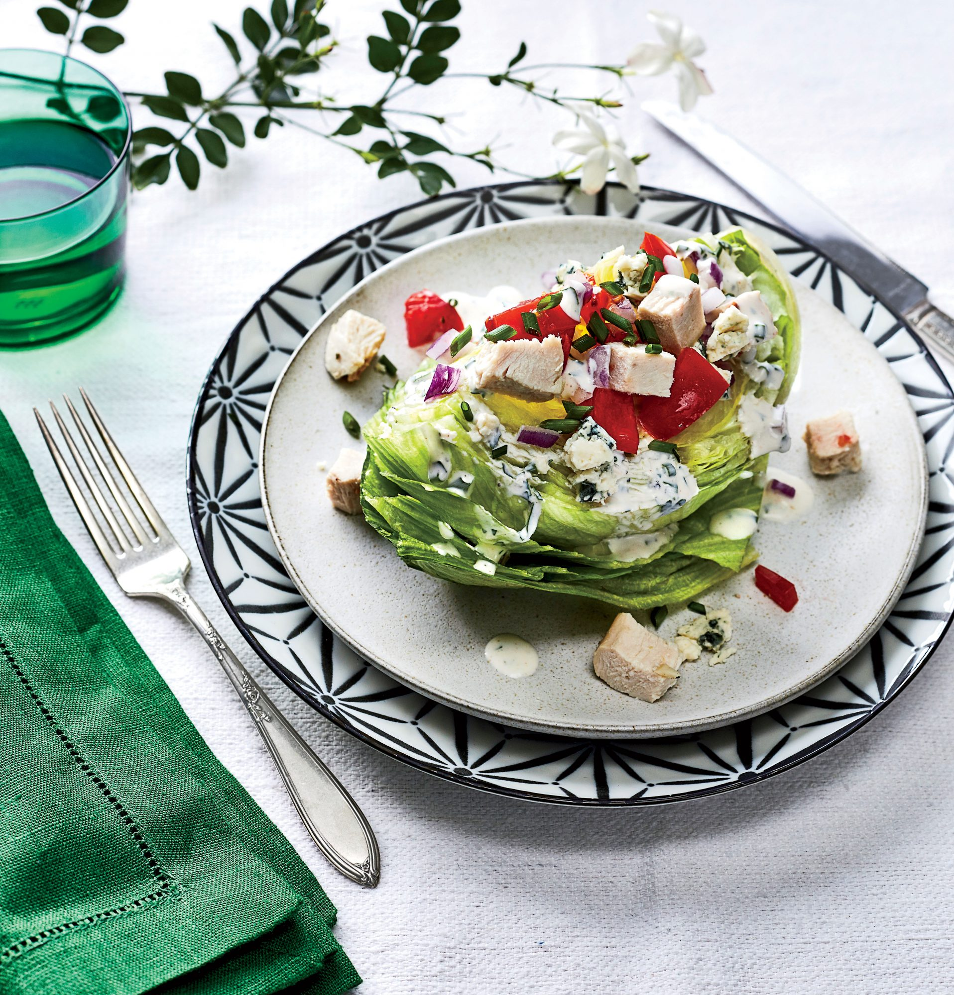 Wedge Salad with Turkey and Blue Cheese-Buttermilk Dressing