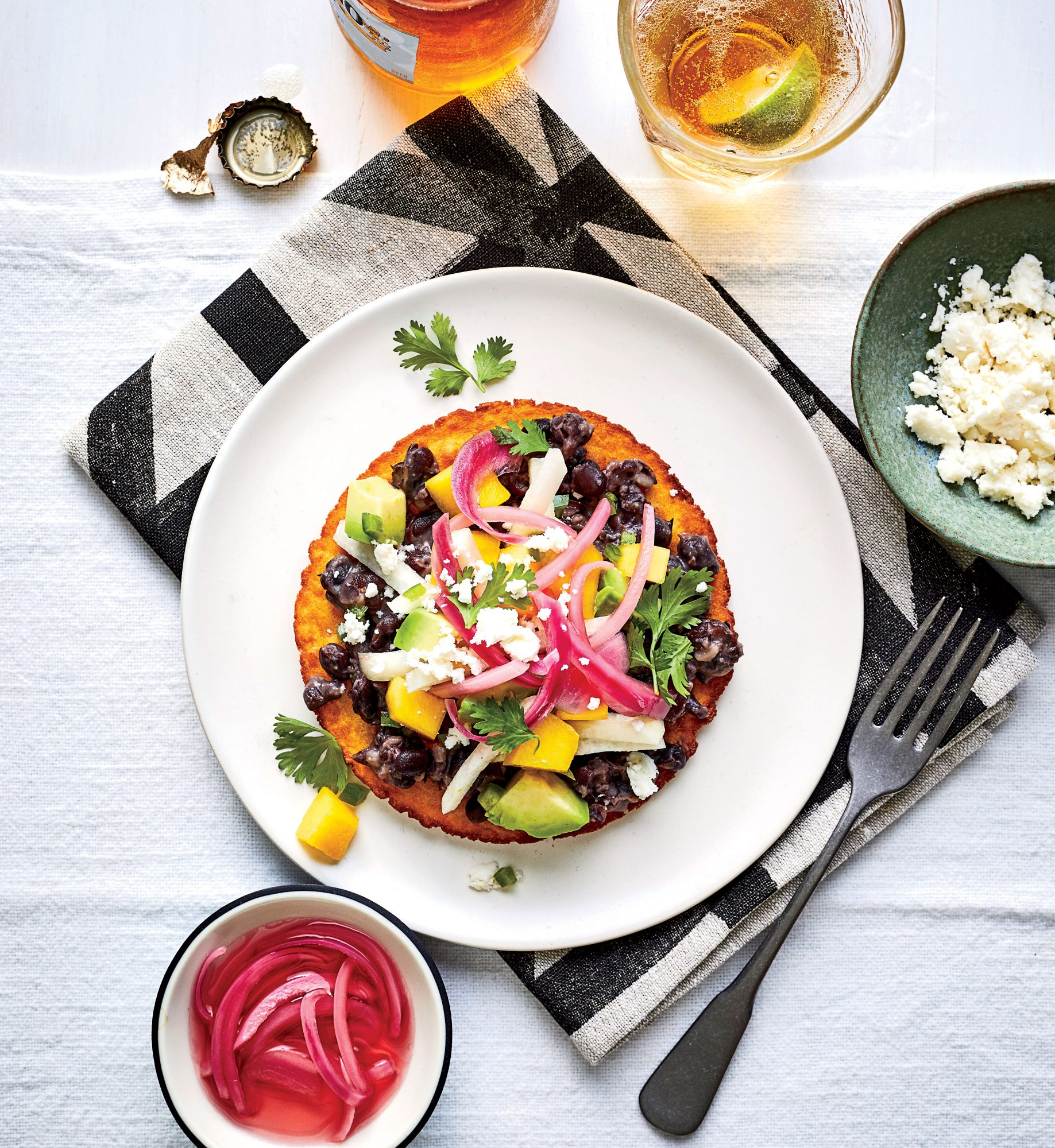 Black Bean Tostadas with Mango-Avocado Salsa