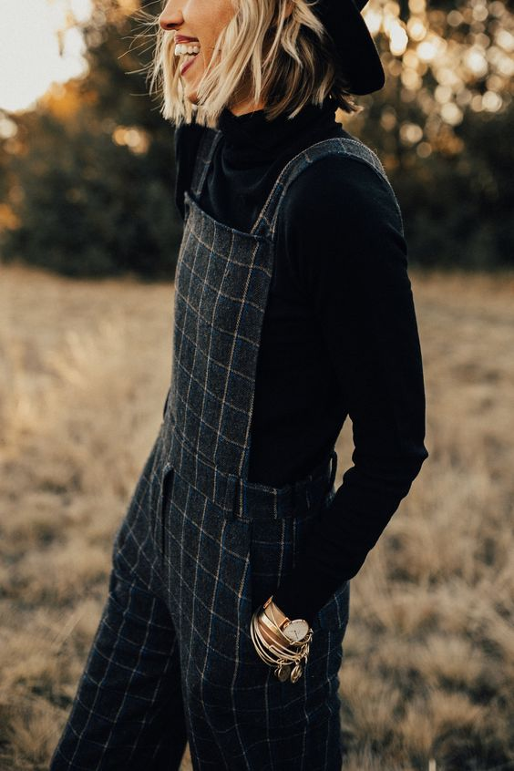 Black Windowpane Plaid Overalls