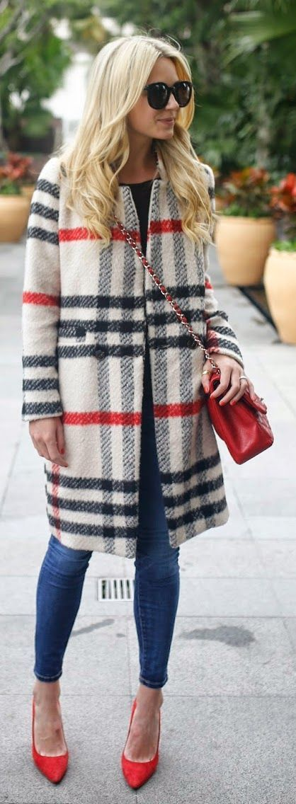 Red, Cream and Black Tartan Coat with Statement Red Pumps