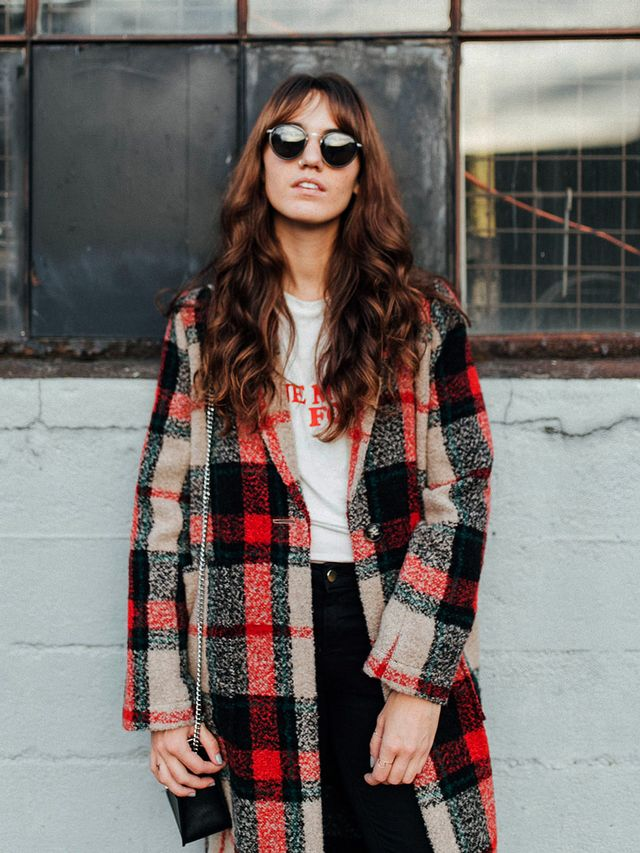 Red Tartan Coat with Graphic Tee