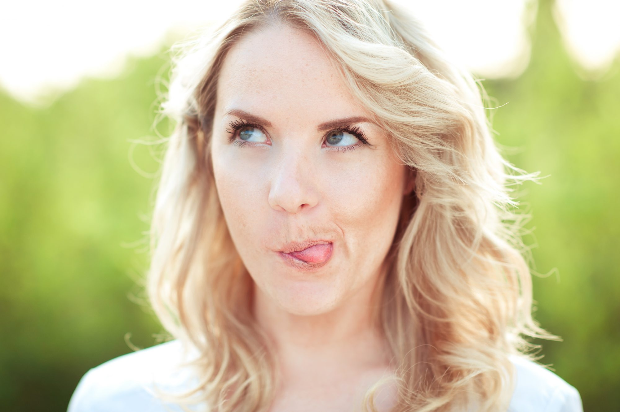 Blonde Woman Making Funny Face
