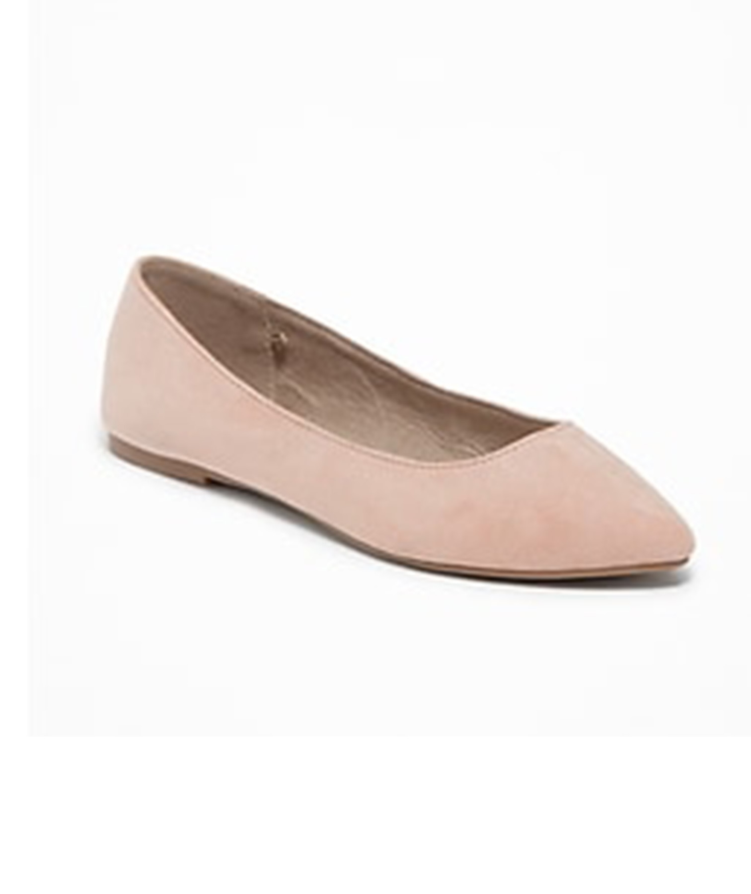 Sueded Pointy Ballet Flat in Blush