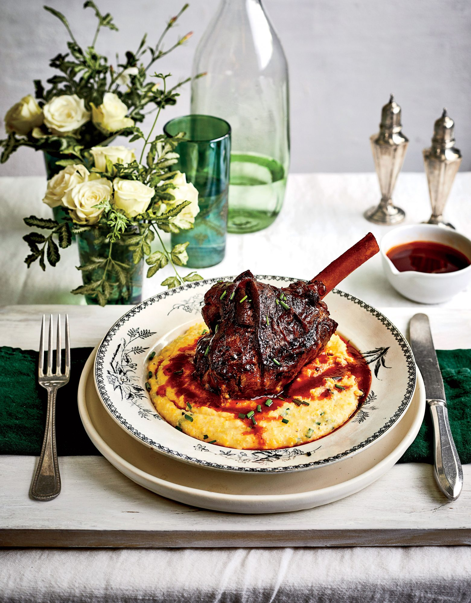 Braised Lamb Shanks with Parmesan-Chive Grits