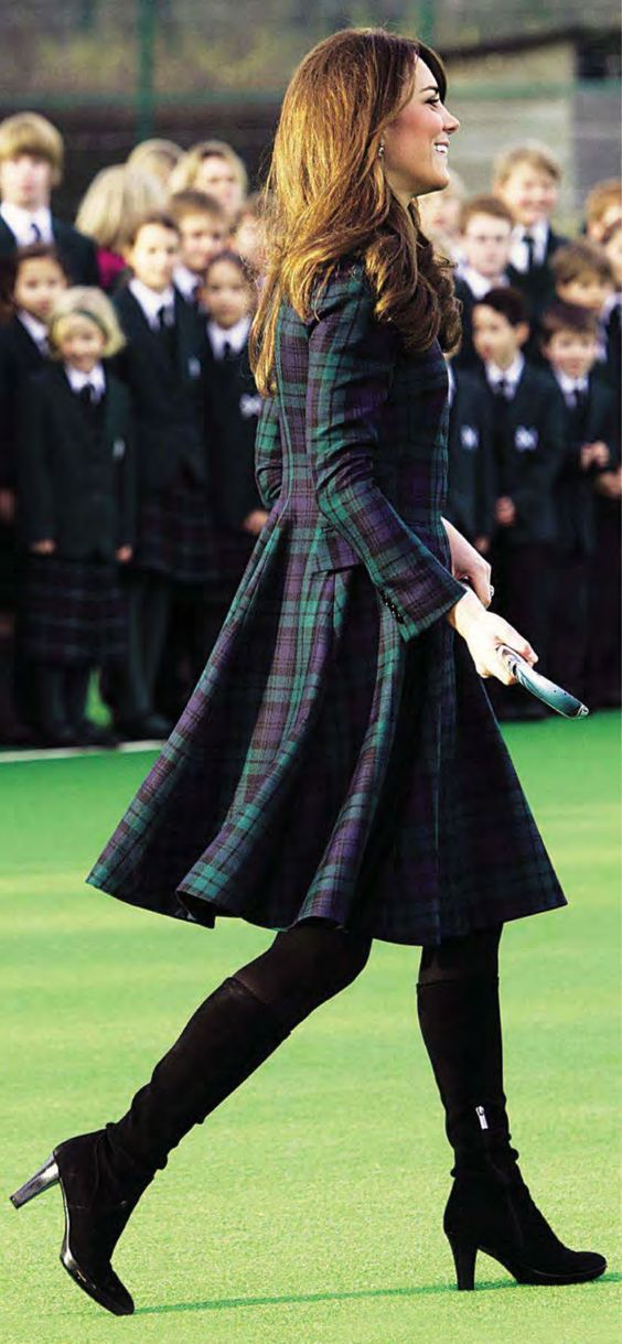 Green Tartan Dress Coat