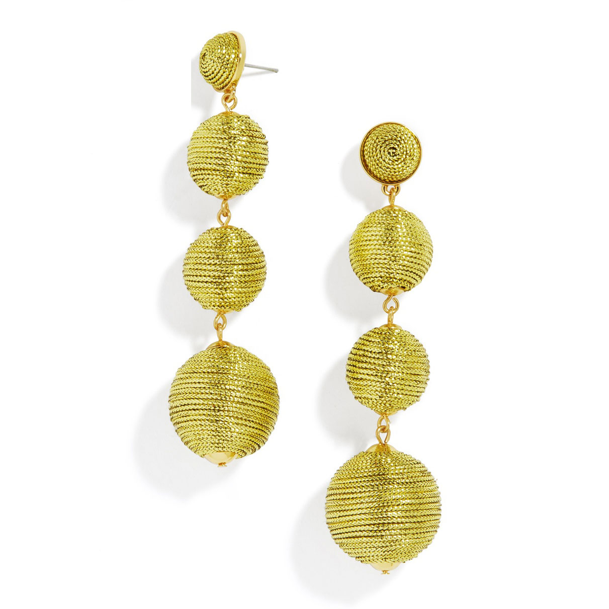 Criselda Ball Drop Earrings in Metallic Gold
