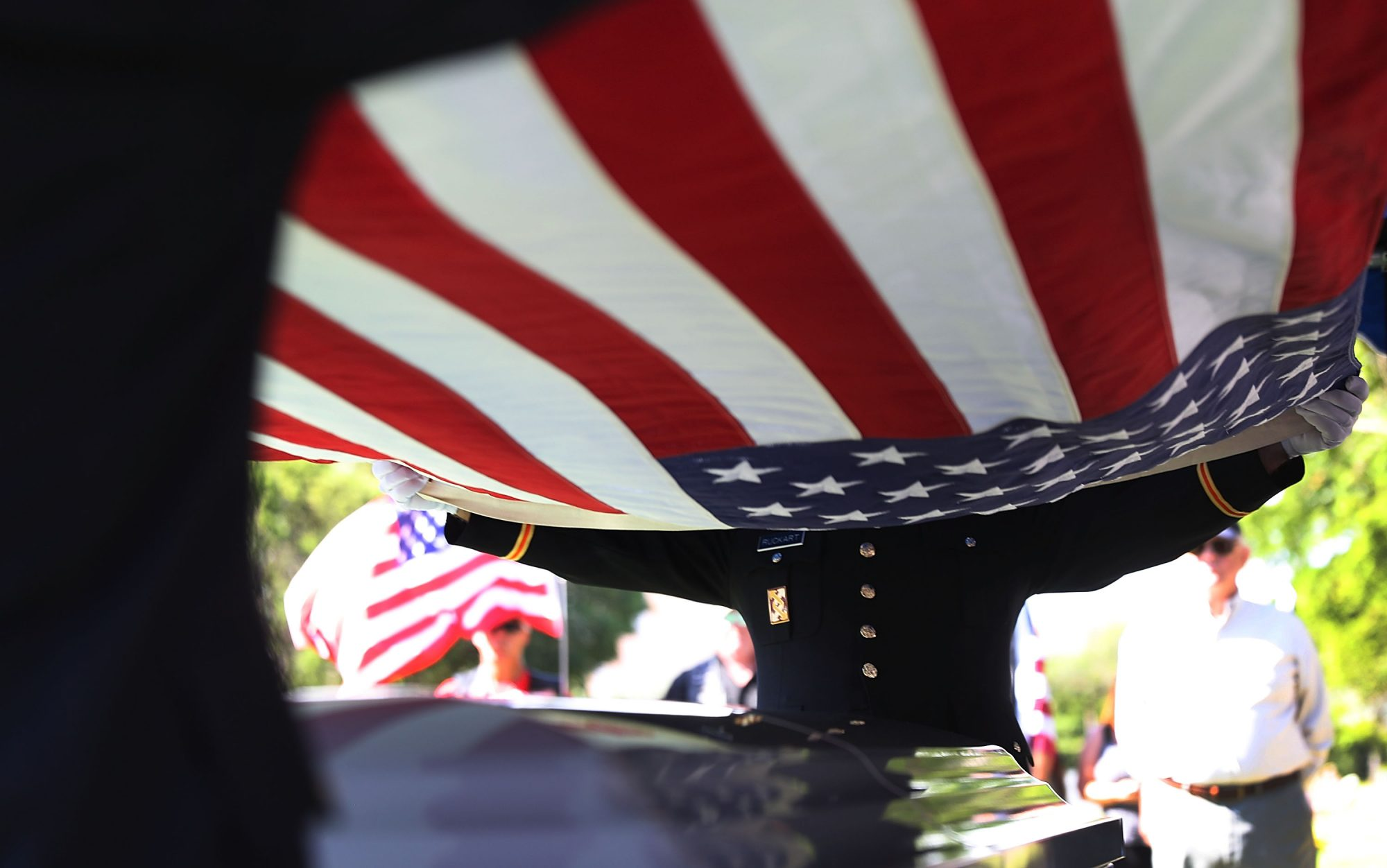 Flag over Casket Military Funeral