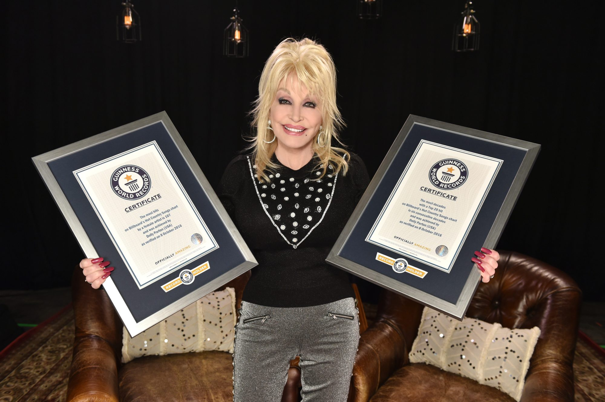 Dolly Parton with Two Guinness World Records