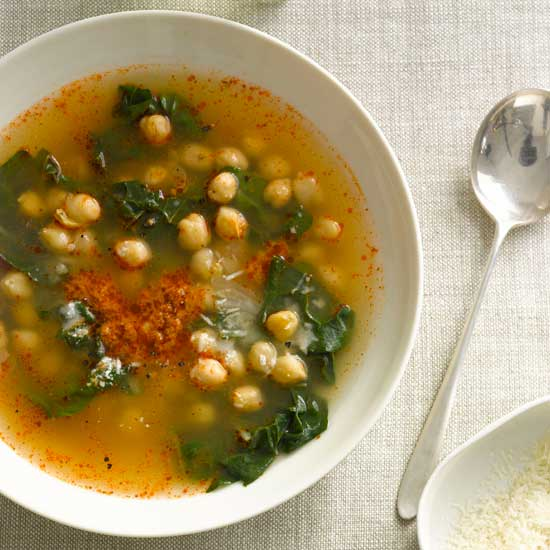 Chickpeas and Swiss Chard in Parmesan and Sun-Dried-Tomato Broth
