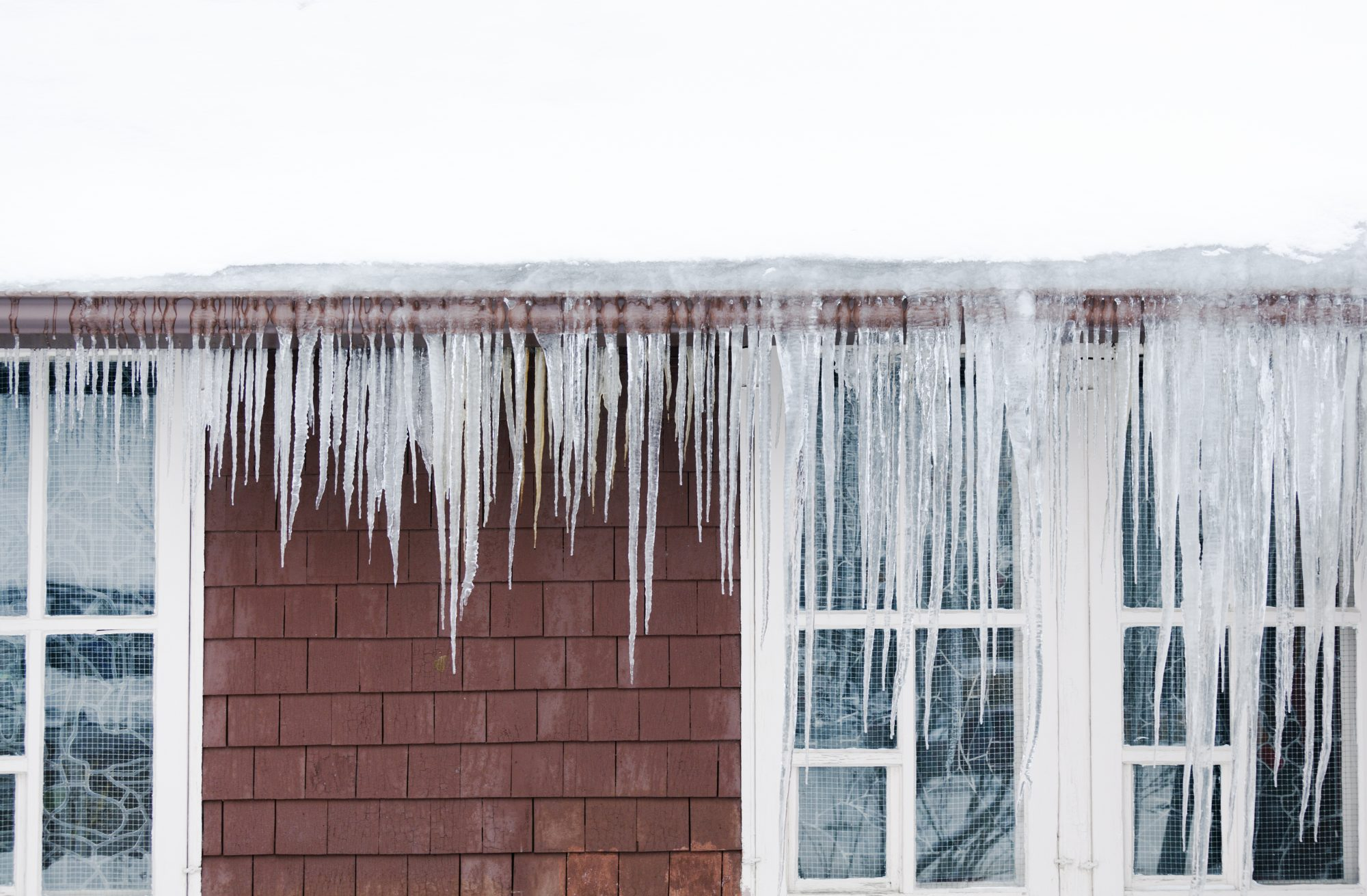 Ice Dams on Rooftop