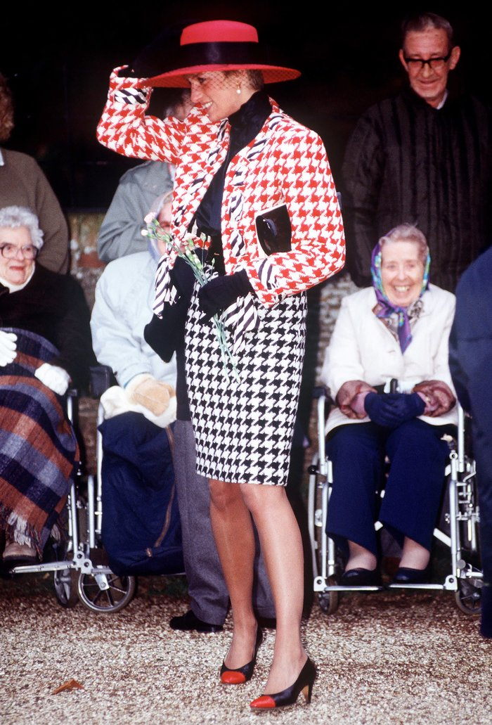 Princess Diana Red-and-White Houndstooth Jacket