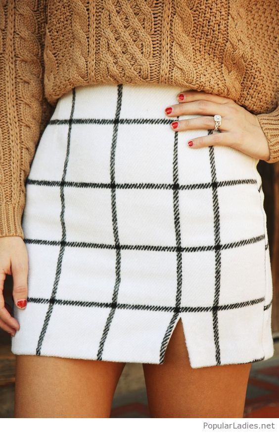 Windowpane Plaid Skirt with Chunky Sweater