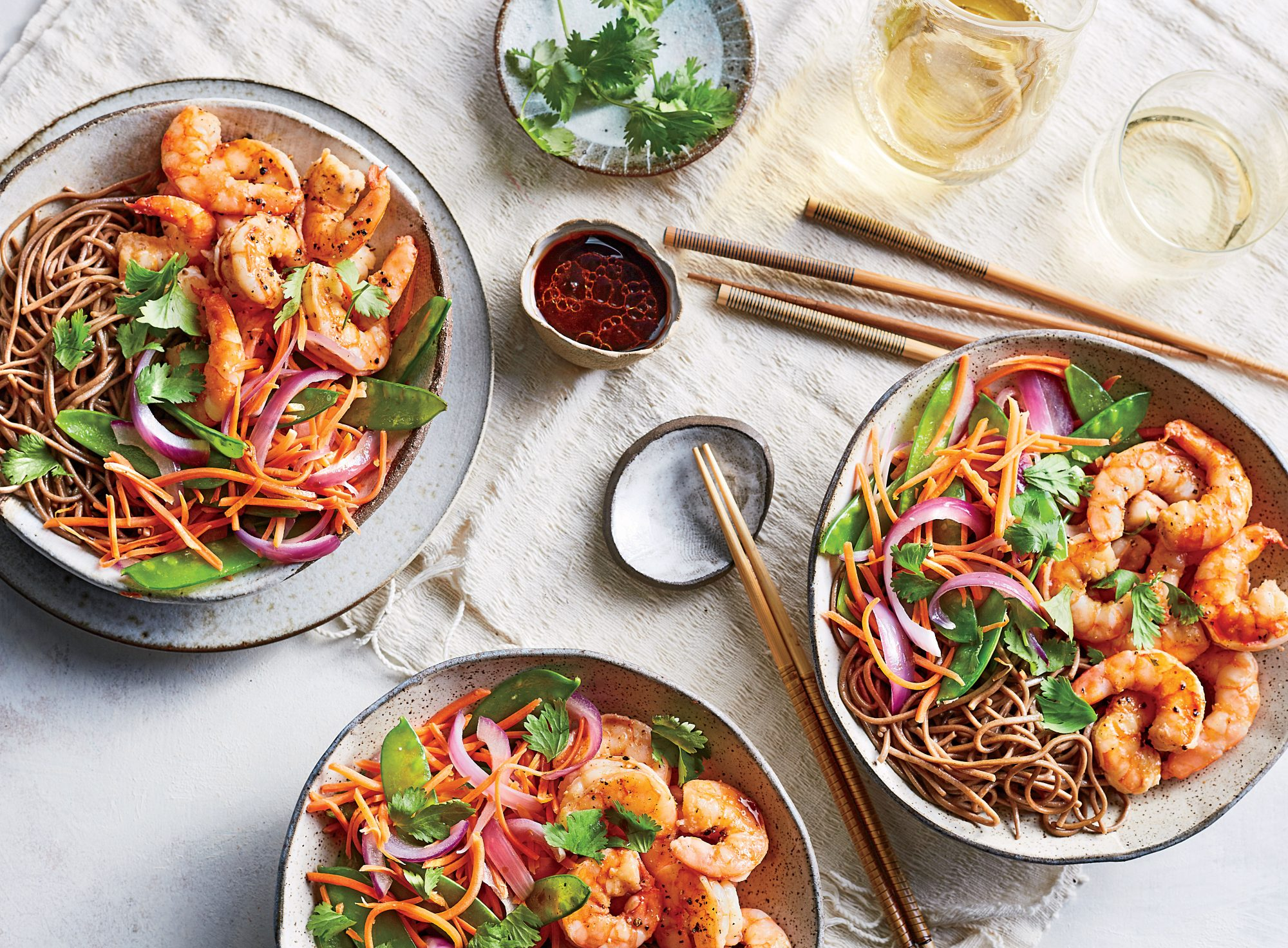 Soba Noodle-and-Shrimp Bowls