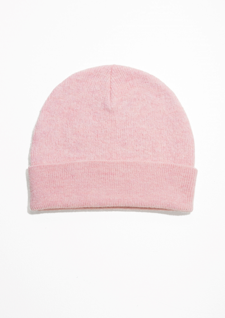 Wool Beanie in blush color
