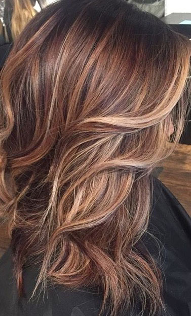 Brown Hair with Copper Blonde Highlights