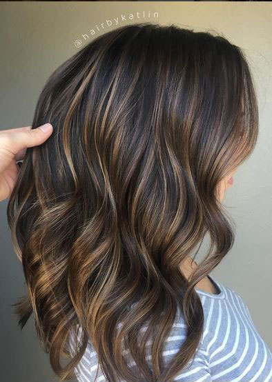 Brown Hair with Thin Platinum Highlights