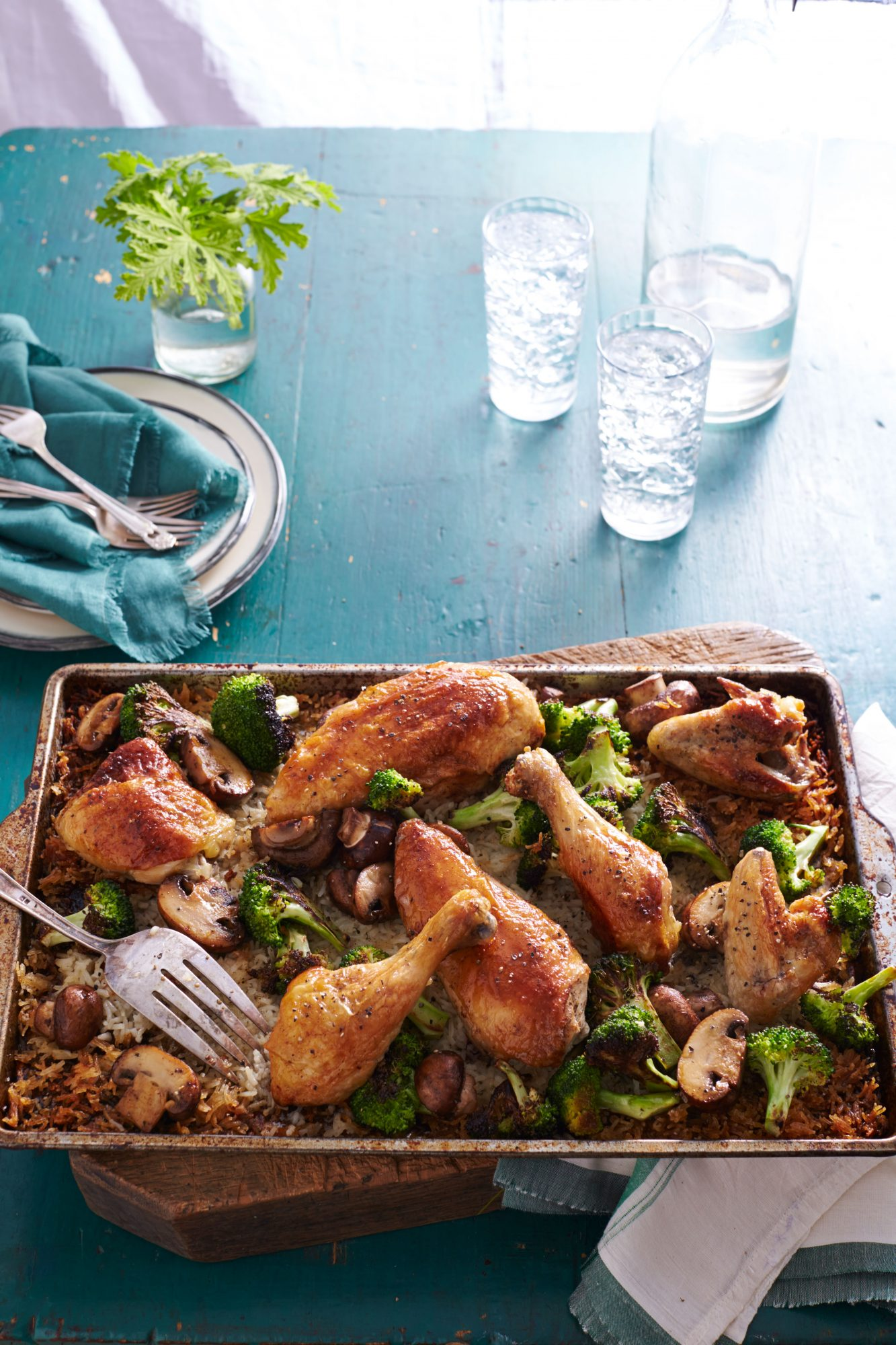 Simple Whole Roasted Chicken with Broccoli-Mushroom Rice