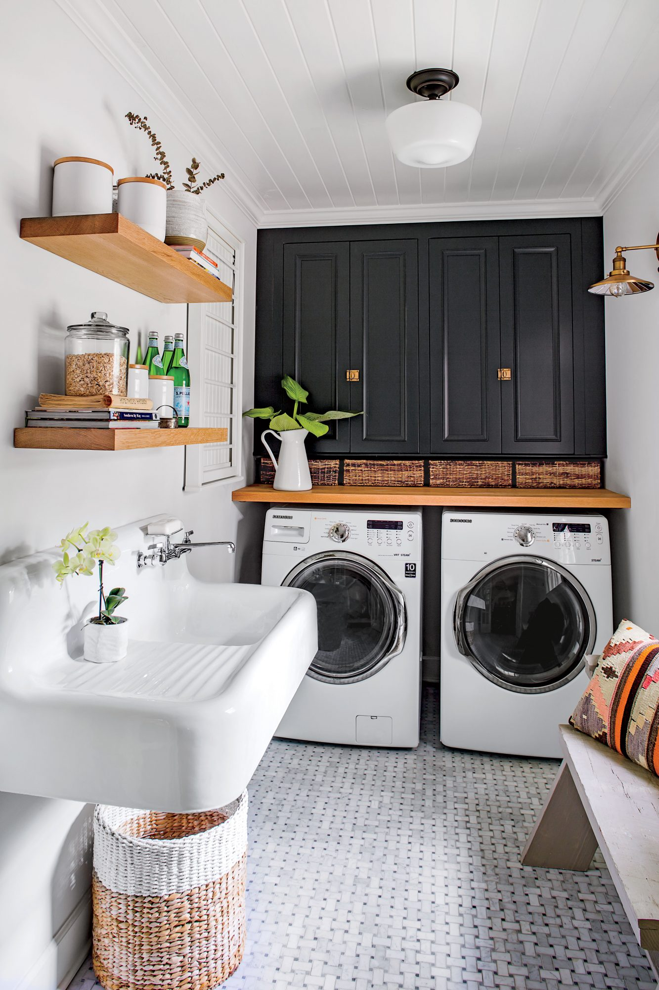 Monica Stewart Black and White Laundry Room
