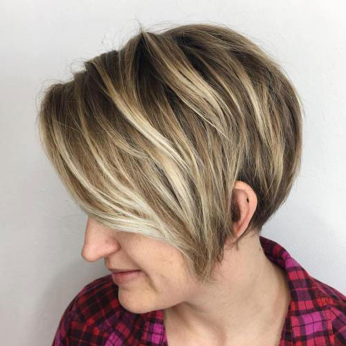 Long Pixie with Blonde Balayage