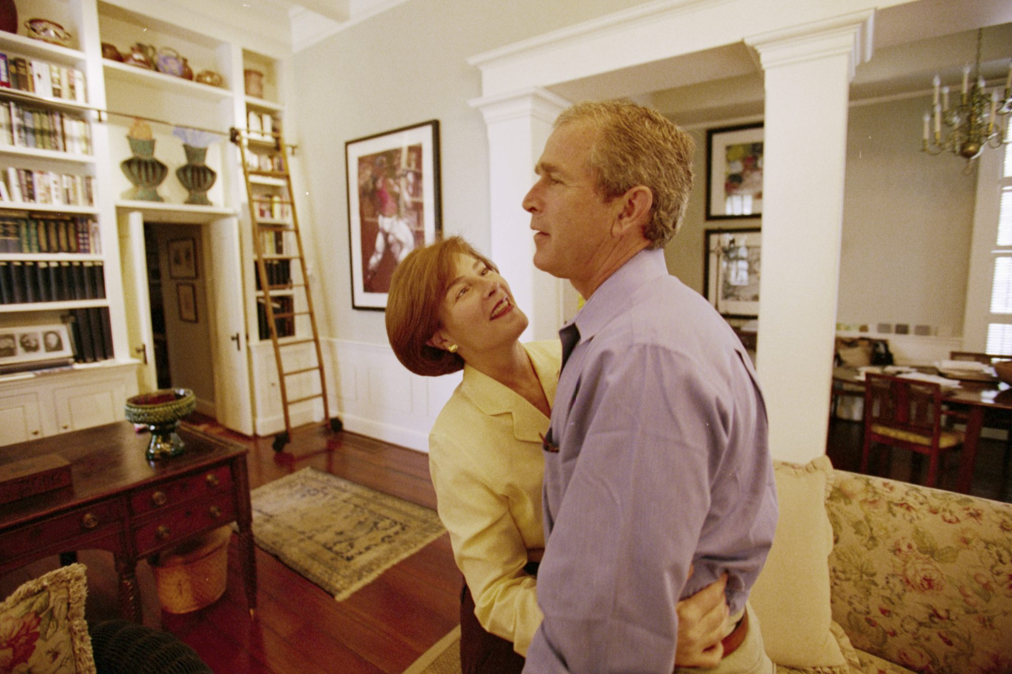 George and Laura Bush Hugging
