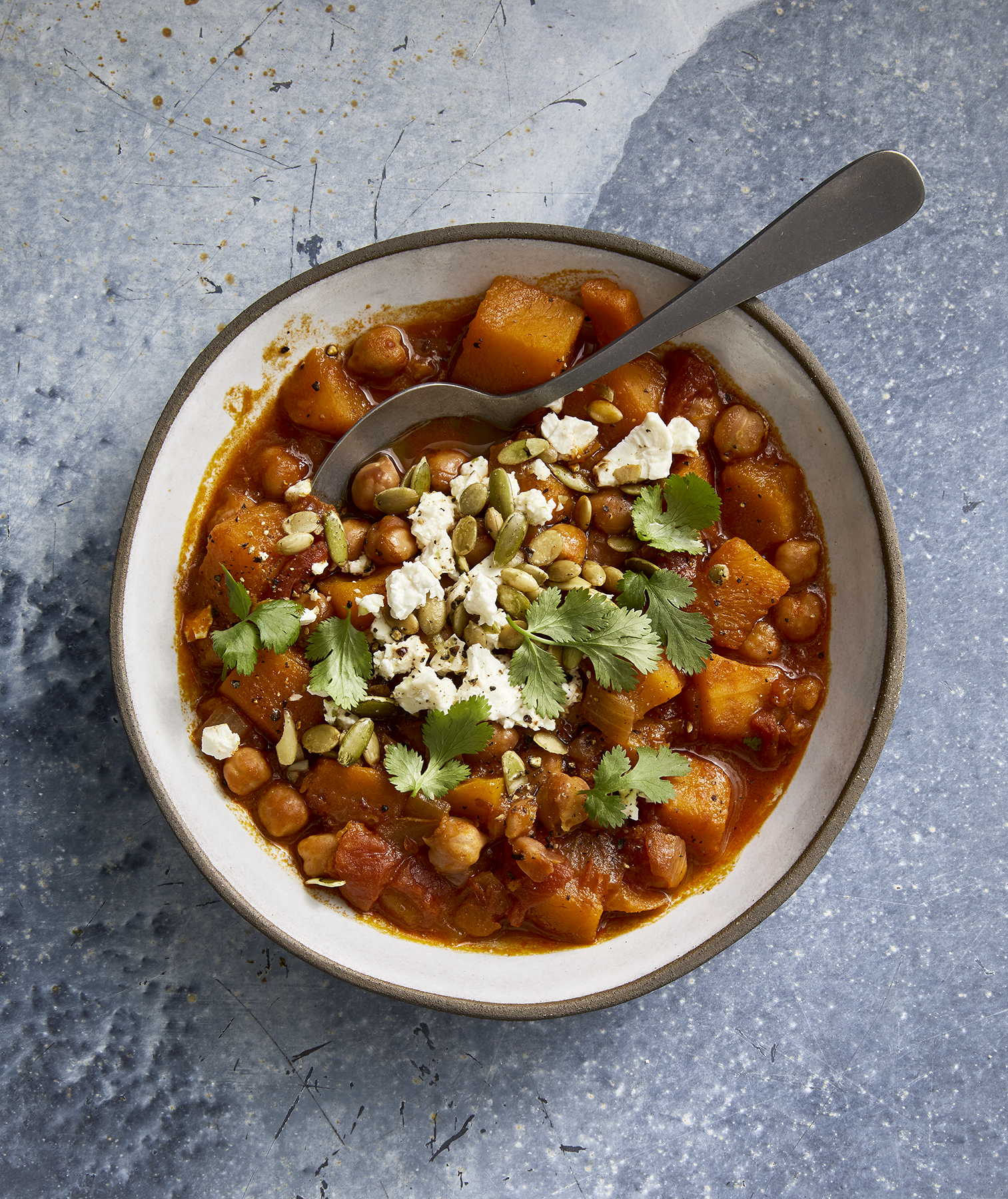 Slow-Cooker Butternut Squash, Chickpea and Harissa Chili