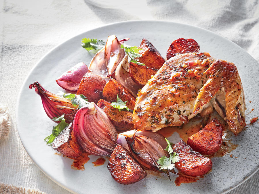 Chimichurri Roasted Chicken with Potatoes and Onions