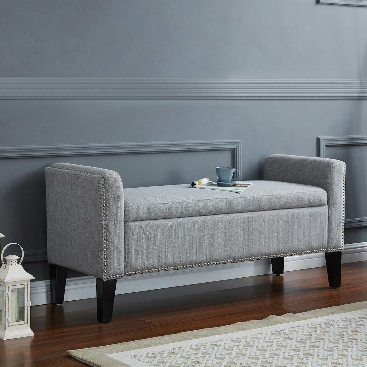 Costco light gray storage bench