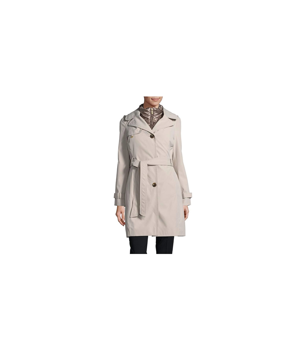 Ellen Tracy 2-in-1 Trench Coat with Removable Quilted Vest
