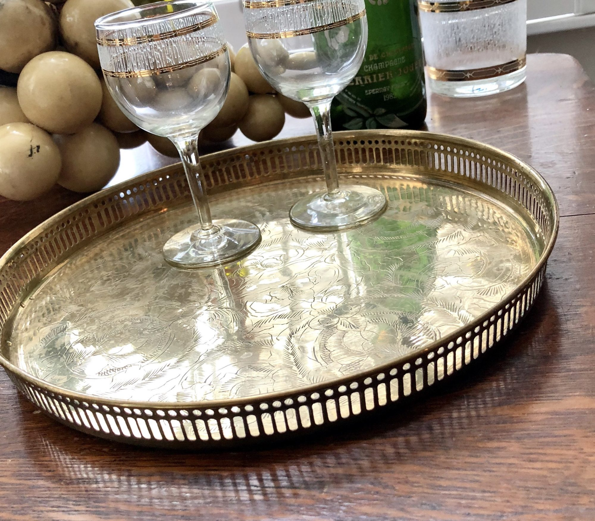 Hollywood Regency Etched Brass Serving Tray