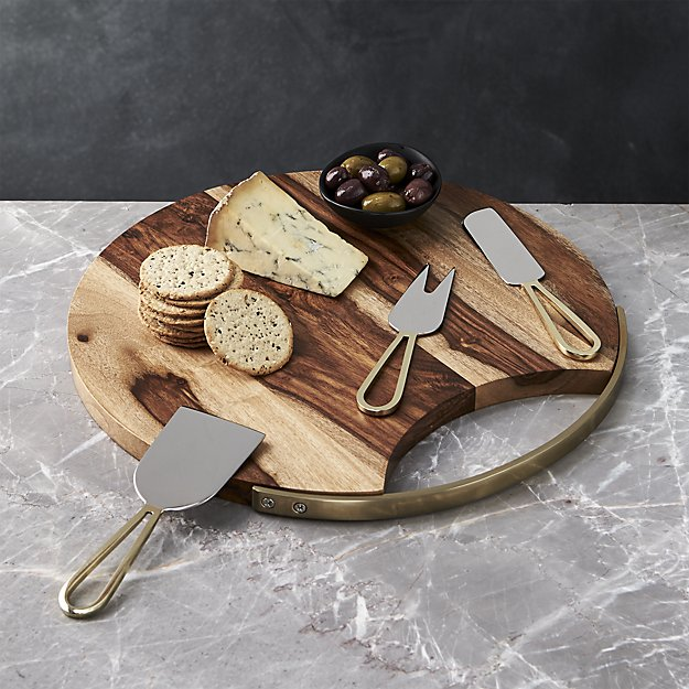 Cheese Board and Gold Cheese Knives Set