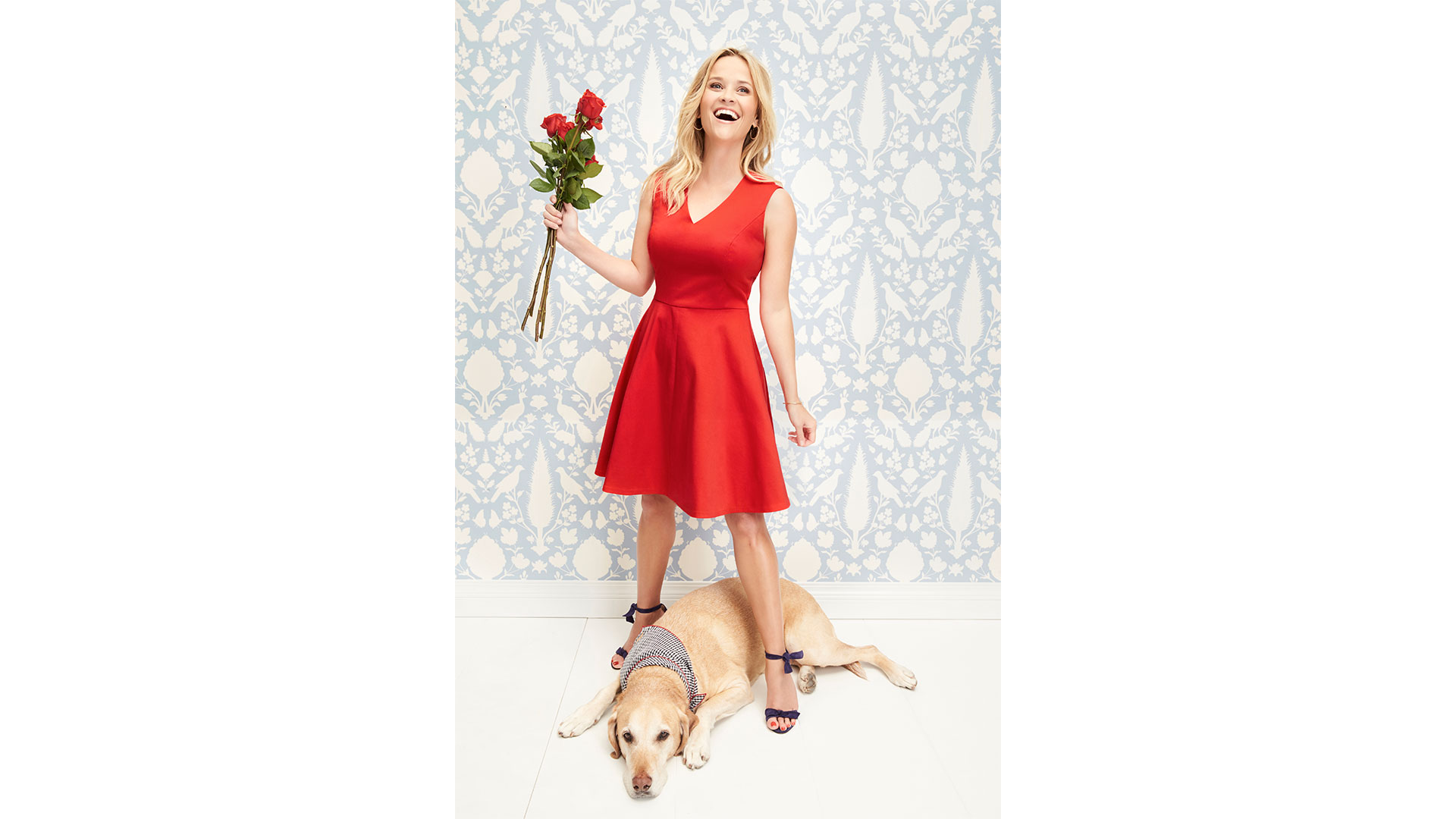 Reese Witherspoon in Red Draper James Dress