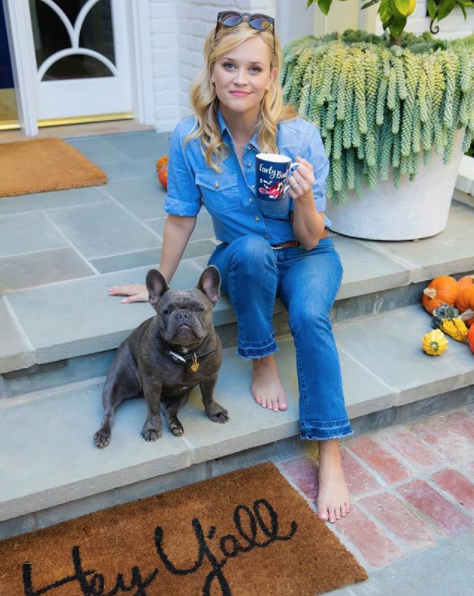 Reese Witherspoon Drinking Coffee with Dog Pepper
