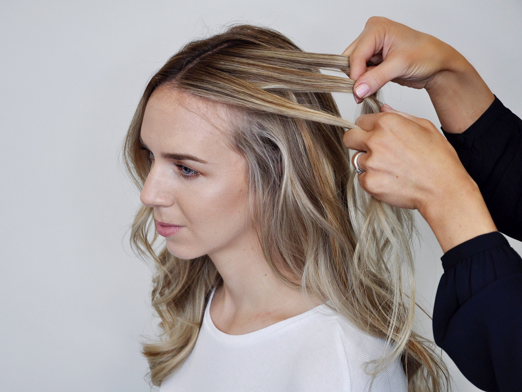 Sectioning hair for waterfall braid