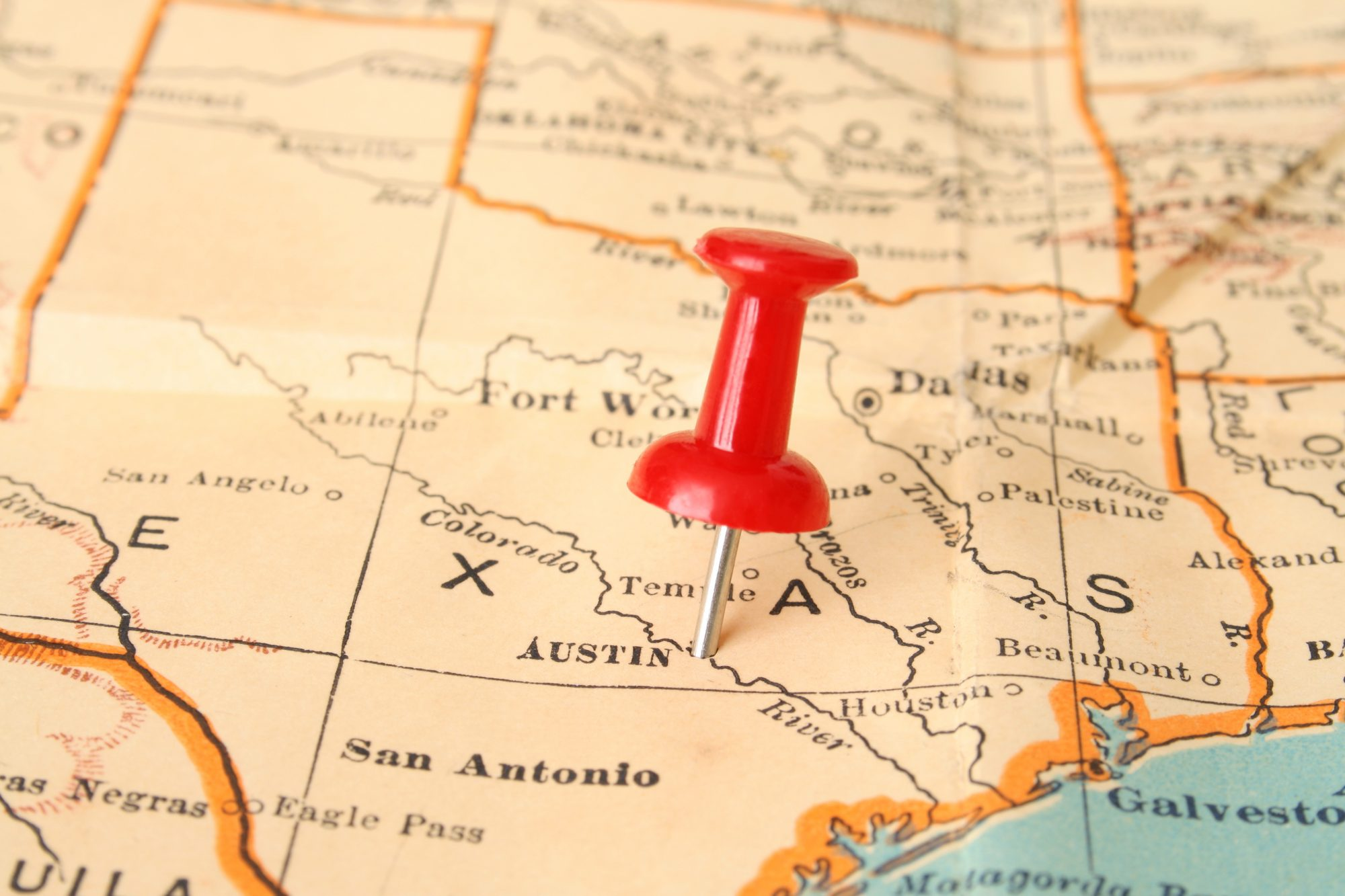Thumbtack on Texas Map