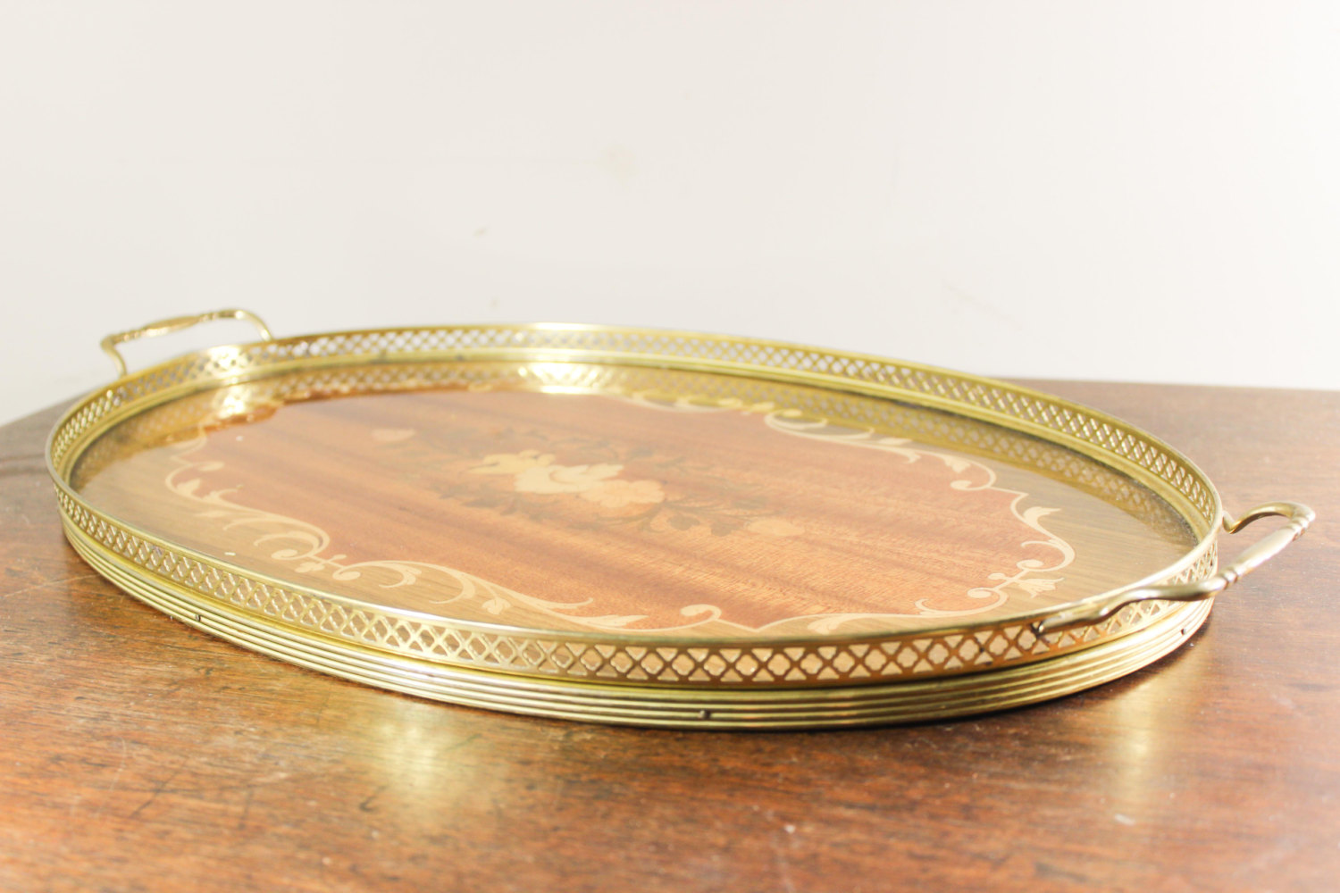 Wooden Inlaid Oval Serving Tray