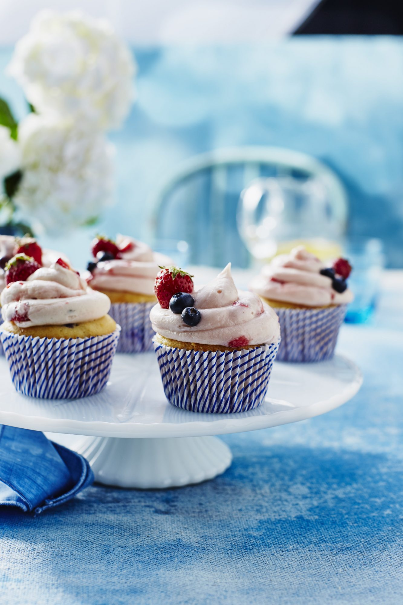 Strawberry-Blueberry Cupcakes Wide