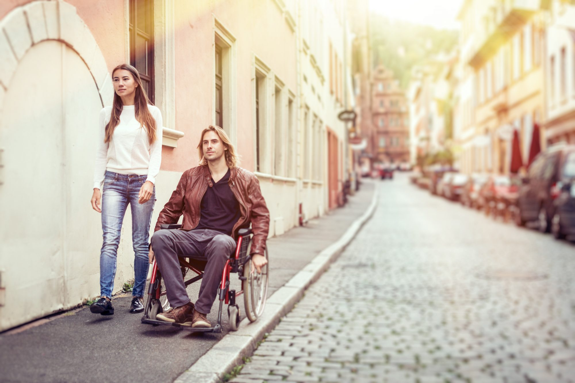 Couple with Man in Wheelchair